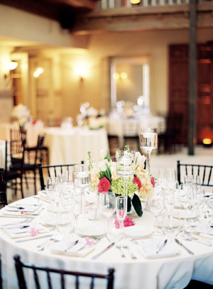 Black White and Pink Reception Tables