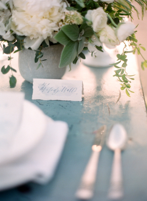 Blue Calligraphy Place Card