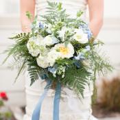 Blue Ribbon Tied Bouquet