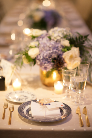 Blue White and Gold Table Ideas