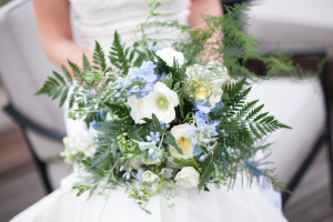 Blue and White Bouquet with Fern