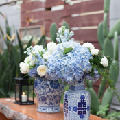 Blue and White Ginger Jars Reception Decor