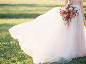 Blush Wedding Dress Colorful Bouquet