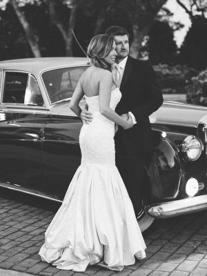 Bride and Groom with Getaway Car