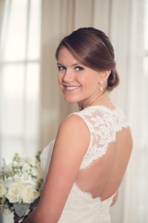 Bride in Lace Halter Gown