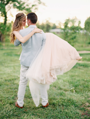 Bride in Pink Skirt