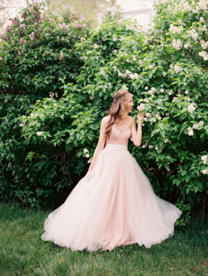 Bride in Pink Wedding Dress