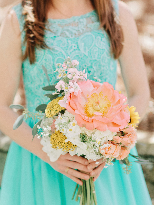 Bridesmaid with Spring Flower Bouquet