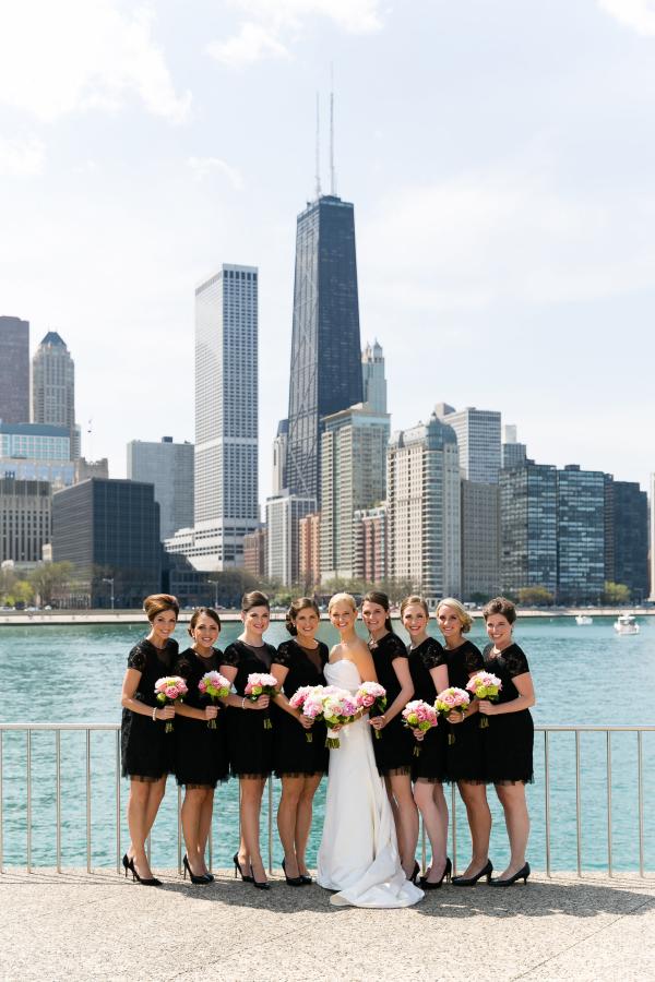 Bridesmaids with Chicago Skyline
