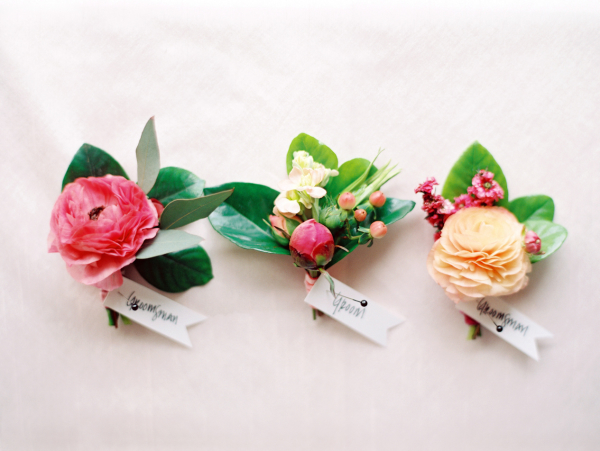 Bright Pink Boutonnieres