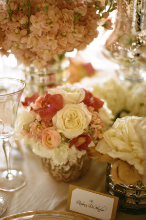 Burnt Coral and Rose Gold Centerpiece