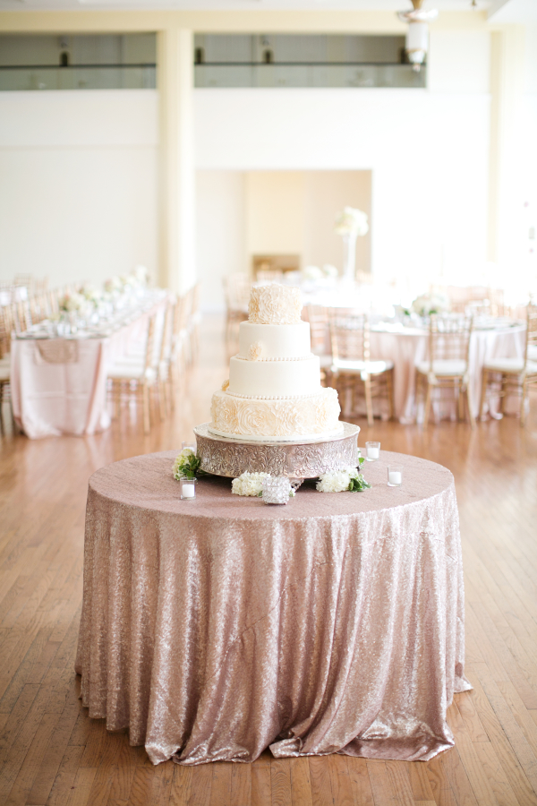 Cake Table With Gold Sparkle Linen Elizabeth Anne