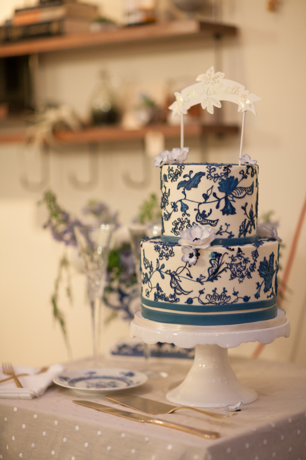 Cake with Toile Pattern