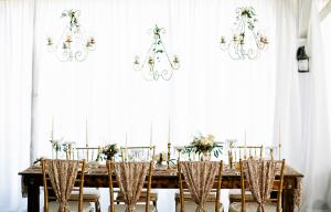 Chandeliers Over Wedding Table