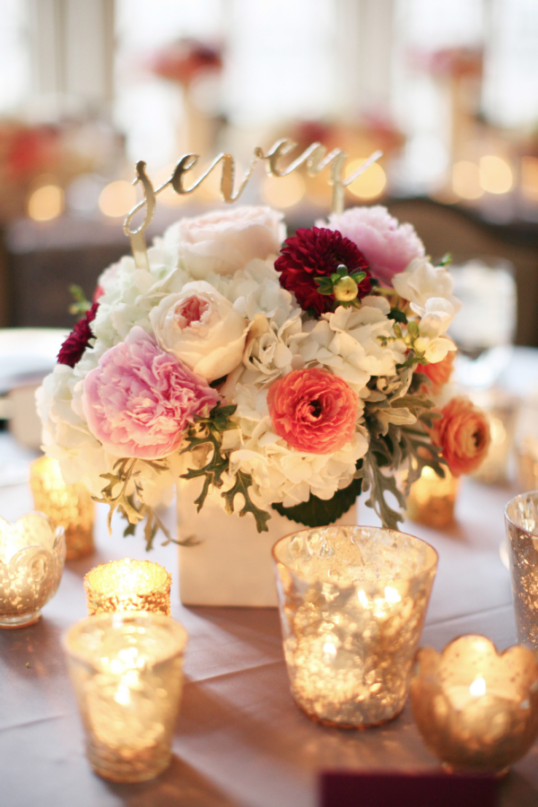 Colorful Centerpieces with Table Name