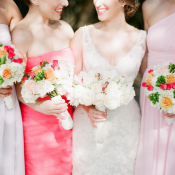 Coral and Blush Bridesmaids Dresses