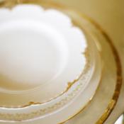 Crisp White and Gold China