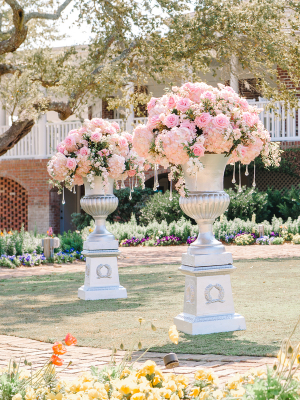 Dramatic Pink Ceremony Flowers