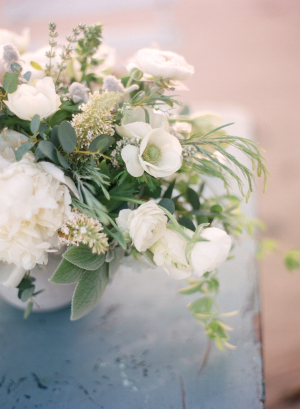 Elegant Cream and Green Florals