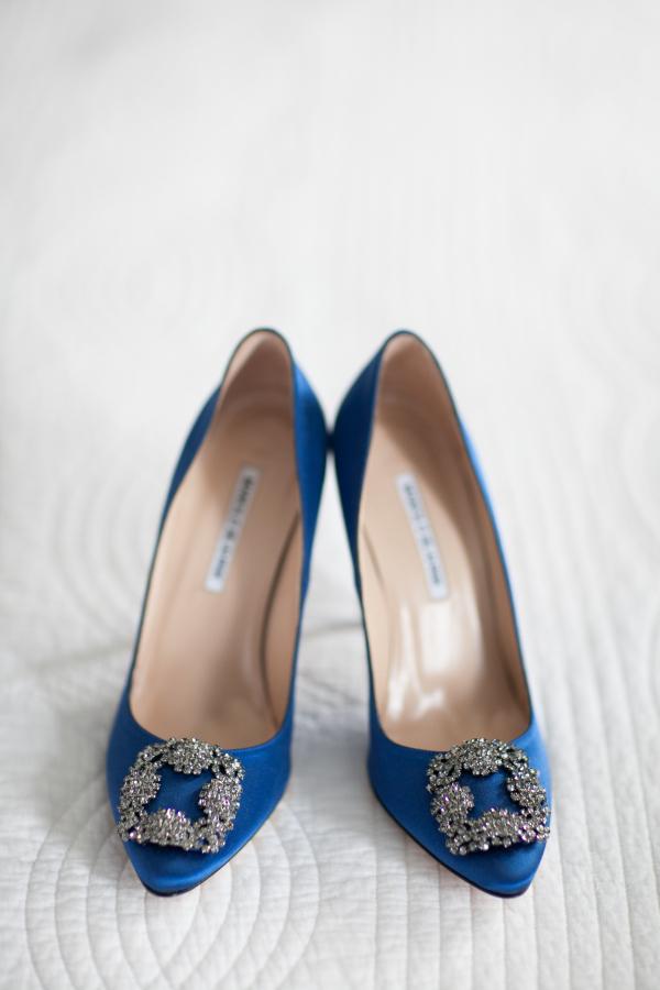 Embellished Blue Bridal Shoes