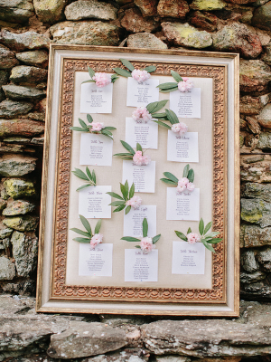 Framed Seating Chart with Flowers