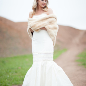 Fur Stole Over Bridal Gown
