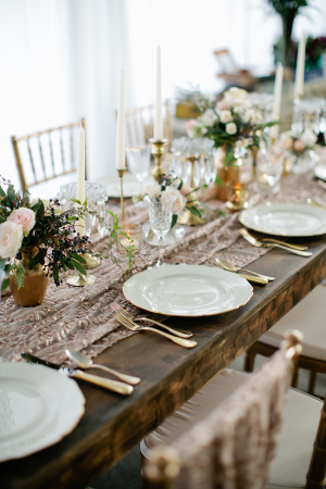 Gold Brown Ivory Wedding Table