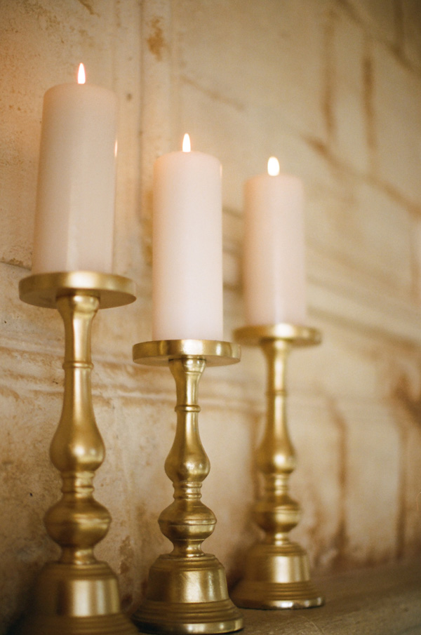 Gold Pillar Candle Holders Elizabeth Anne Designs The Wedding Blog