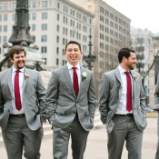 Groomsmen in Burgundy Ties
