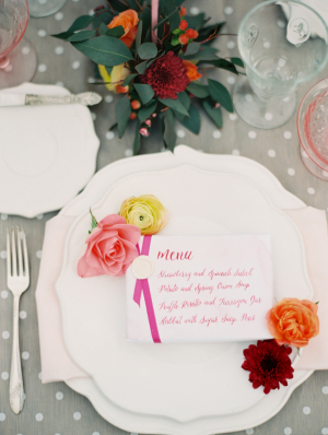 Handwritten Wedding Menu