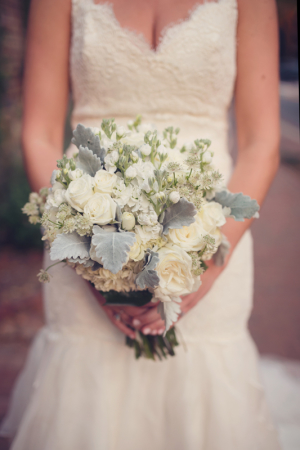 Ivory Bouquet with Dusty Miller