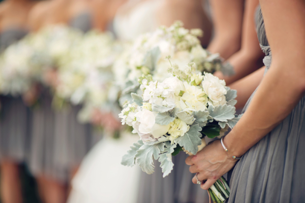 Ivory Bouquets with Dusty Miller