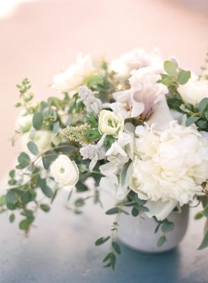 Ivory and Green Centerpiece
