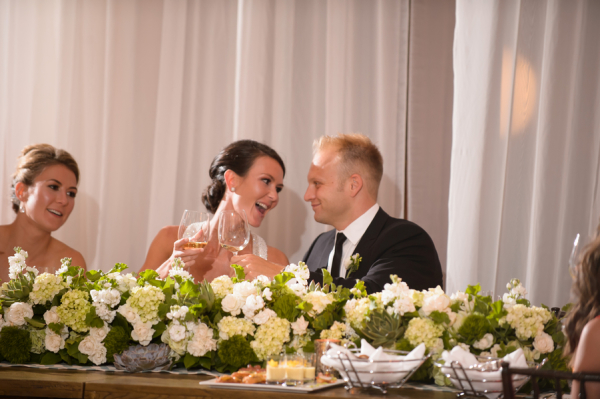 Ivory and Green Garland Centerpiece
