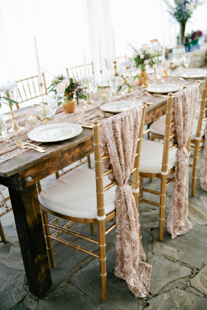 Patterned Gold Chair Covers