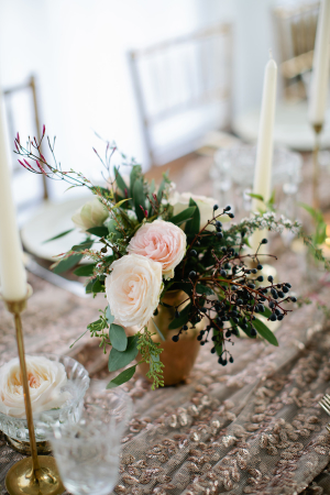 Peach and Dark Blue Centerpiece