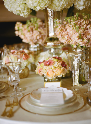 Peach and Pale Coral Centerpiece