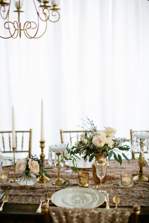 Rose Gold and Green Wedding Table