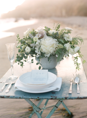 Rustic Blue and White Beach Tablescape