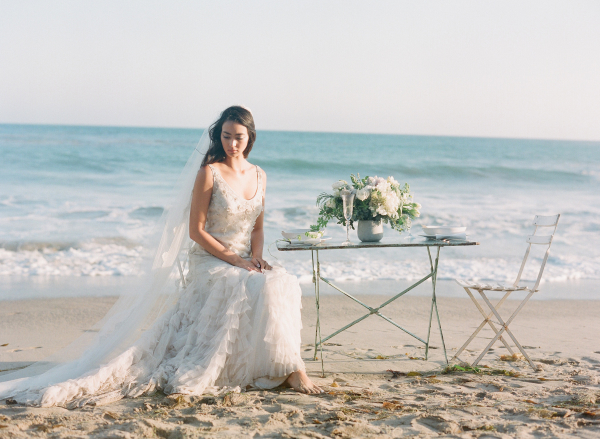 Shirred Skirt Bridal Gown