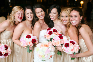 Strapless Gold Bridesmaids
