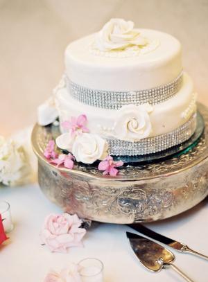 Wedding Cake With Silver Rhinestones