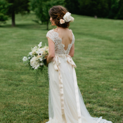 Wedding Gown with Peach Ribbon