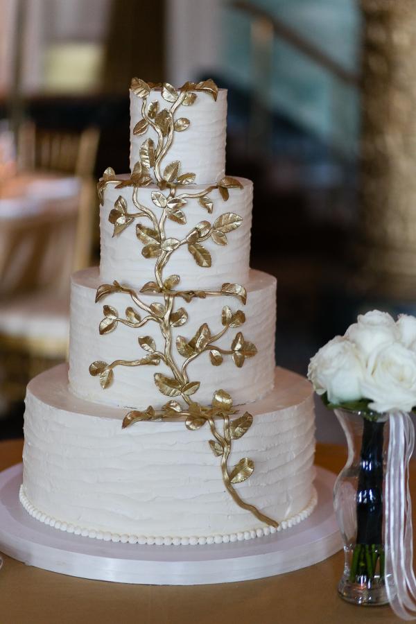 White Wedding Cake with Gold Leaf - Elizabeth Anne Designs: The ...