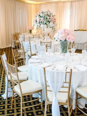 White and Pink Centerpiece of Roses