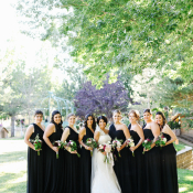 Black Grecian Bridesmaids Dresses