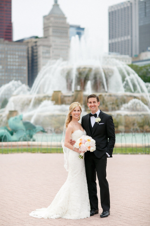 Bride and Groom at Buckingham Fountain