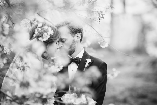 Bride and Groom in Cherry Blossoms