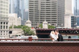 Bride and Groom on Chicago Bridge