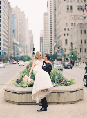 Bride and Groom on Michigan Avenue